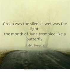 Green was the silence, wet was the light, the month of June trembled like a butterfly. - Pablo Neruda