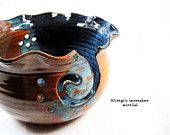 pottery Knitting bowl, yarn bowl, earthy, large, Made to order