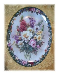 "LENA LIU FLORAL CAMEO ""REMEMBRANCE"" PLATE Owned Judy"