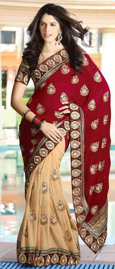 #Maroon and Fawn Faux Georgette #Saree With Blouse @ $150.04 | Shop Now @ http://www.utsavfashion.com/store/sarees-large.aspx?icode=sga2028