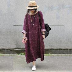 Women cotton linen loose autumn print dress