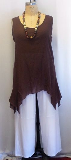 Coco and Juan Lagenlook Plus Size Chocolate Brown Cotton Gauze Angled Tank Top Size 1 Fits 1X,2X Bust 48 inches