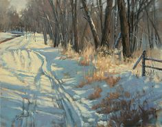 Watch Out For Snowmobiles by Barbara Jaenicke Oil ~ 16 x 20