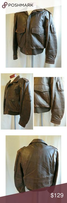"""Vintage Leather Aviator Bomber Jacket Brown 42 Awesome Men's vintage leather aviator bomber jacket from the 80's! This is from a personal client of mine, been in his closet for over 30 years. It was loved and worn, shows a beautiful patina in the dark brown leather. Size Men's 42/ Large, full zip with knitted cuffs and waist, genuine leather from brand """"Midway."""" Some wear but no damage (no mold/odors). Packed carefully and shipped fast! Thank you, Jen #1117 Vintage Jackets & Coats"""