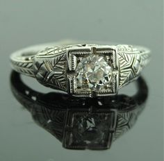 Antique Diamond Ring - 18k White Gold and Diamond Ring