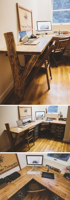 Home Decorating Ideas Modern Rustic Desk. Read the story here: bradley-and-janna. : Home Design Ideas: Home Decorating Ideas Modern Home Decorating Ideas Modern Rustic Desk. Read the story here: bradley-and-janna. Reclaimed Wood Desk, Rustic Desk, Rustic Office Desk, Diy Wood Desk, Wooden Desk, Office Table, Office Chairs, Modern Rustic, Office Workspace