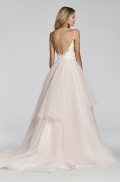 """""""Lilou""""- style:1708-Cherry Blossom lace and tulle ball gown, spaghetti strap sweetheart lace bodice, full tiered tulle skirt"""