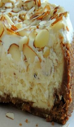 White Chocolate & Almond Amaretto Cheesecake w/ recipe below - Desserts