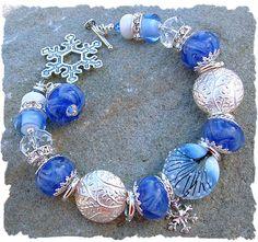 Winter Frost - Artisan Lampwork Bead Bracelet, Beaded