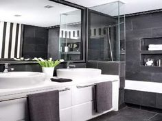 grey and white bathrooms - - Yahoo Image Search Results
