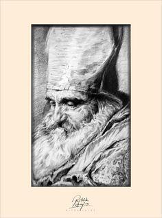 Ritók Lajos Ceruza rajz, Benczúr Gyula után. Portré, Pencil Drawing on paper