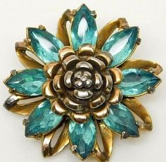 Large antique brass jeweled turquoise glass gems button