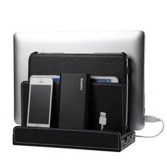 EasyAcc® Black Leather Multiple Device Charging Station Dock