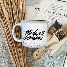 Midwest Dreamin' Campfire Mug in White // Hand-Lettered