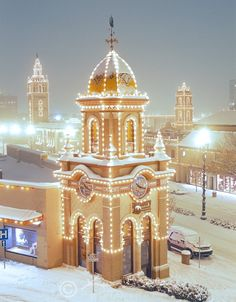 The Country Club Plaza Towers and Lights Snow - Kansas City - Photo by Kevin Sink