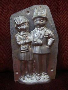 "Wonderful Anton Reiche Antique Chocolate Mold Dressed Bunny Rabbit Couple 7"" | eBay"