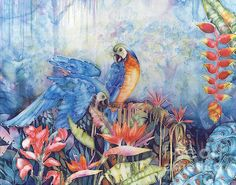 'Just Dropping By...' | Deborah Younglao | Parrot painting on silk