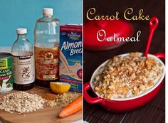 This includes grated carrot (about 1 large),  almond milk, coconut milk cream (or use more almond milk), ground cinnamon,  ground ginger, nutmeg (can take out, not tested), pinch of salt, oats, vanilla extract, lemon juice (optional), walnuts, raisins, maple syrup