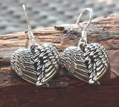 Sterling Silver Thai Earrings Heart Feathers | Sure Design