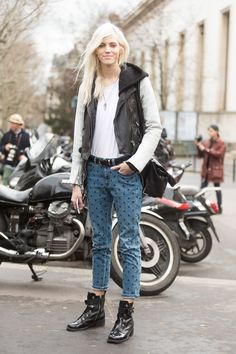 black leather moto jacket with white sleeves, polka dotted jeans, combat boots