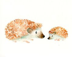 MOM HEDGEHOG with her little GUY Original watercolor.  How cute!!!