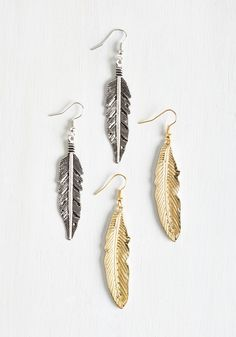 Make Plume for Me Earring Set. Youll always save a spot in your ensembles for these feather earrings! #gold #modcloth