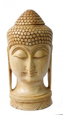 Buy Hand Carved Wooden Ethnic Buddha Head Statue Size 8.0 Online - Wooden Statues