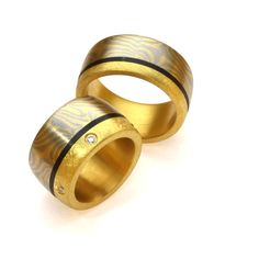 Eheringe Mokume Gane Gelbgold Palladium Carbon Brillanten (1008212) Fairtrade, Winterthur, Ring Verlobung, Wedding Rings, Engagement Rings, Jewelry, Jewerly, Enagement Rings, Jewlery