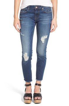 Free shipping and returns on Vigoss Distressed Raw Hem Skinny Jeans at Nordstrom.com. Threadbare distressing and a heavily faded wash add grungy swagger to curve-hugging skinny jeans finished with raw, cutoff hems.