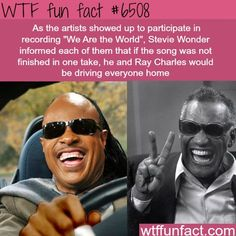 Stevie Wonder and Ray Charles - WTF fun facts. I love this song 😍 Wtf Fun Facts, Funny Facts, Funny Memes, Hilarious, Jokes, Random Facts, Epic Facts, Ray Charles, Stevie Wonder