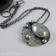 Sterling silver and druzy cabochon pendant  - Full of Promises -. £85.00, via Etsy.