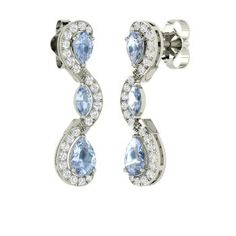 Pear-Cut Aquamarine Earrings in 14k White Gold with SI Diamond