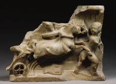 A Roman Marble Sarcophagus Relief Fragment with Racing Erotes, mid 2nd Century A.D.