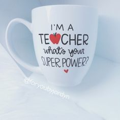 These super cute teacher mugs are perfect to gift to a new graduate & soon to be teacher, teachers gifts, or for yourself as a teacher :)    If you are adding the teachers name on the back please leave the info in the note to seller section when checking out :)