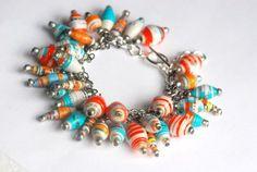 christmas charm bracelet paper beads | Upcycled paper bead charm bracelet in mixed brights by BeadNutters, £ ...