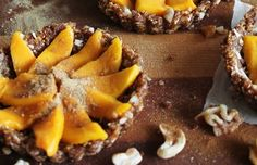 Raw Coconut Mango Tarts with Fig, Walnuts, Cinnamon and Ginger