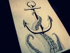 Nautical Octopus Anchor Tattoo Tattoos Ink, I would want the anchor attached to something