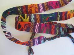 Guatemalan belt headband handwoven cotton ethnic geometric multicolored 1990s traditional narrow skinny