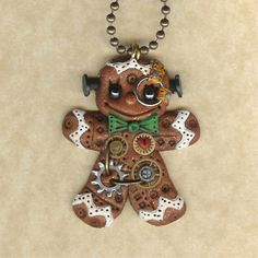 Steampunk Christmas Gingerbread Man Robot Jewelry by Freeheart1