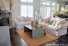 Family room paint colors - Sweet Pickins Furniture.  Was Mountain Haze by Behr now its Repose Gray by Sherwin Williams.  A perfect gray :)