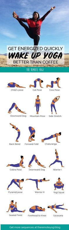This printable yoga sequence is even better than coffee to get you awake and moving each day. Try out the class for free! #yoga #energy #wakeup