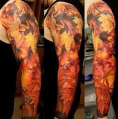 Full Sleeve Tattoo - The changing fall foliage never fails to surprise us. The deep Autumn leaves tattoo is a sign of transformation, a metaphor for rich experience of life.