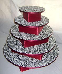Custom Cupcake Stands!  Unique, affordable alternative to a wedding cake! :  wedding black blue bridal shower brown cake cupcake dessert diy dress flowers gold green invitations ivory orange reception red stand white Damask11