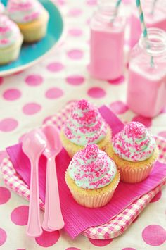 Everything thing about this picture screams little girl's birthday party! Or can I have a polka dot table cloth, sparkly pink cupcakes, and adorable mason jars at my upcoming  birthday?!