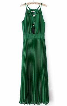 Green Spaghetti Strap Drawstring Pleated Dress