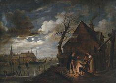 Attributed to Aert van der Neer (1604–1677)  Deutsch: Holländische Kanallandschaft bei Mondschein mit Schlittschuhläufern und einem Lagerfeuer, an dem sich Bauern wärmen Date17th century