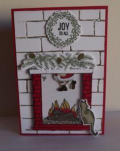 Shaker card using Festive Fireplace and brick folder