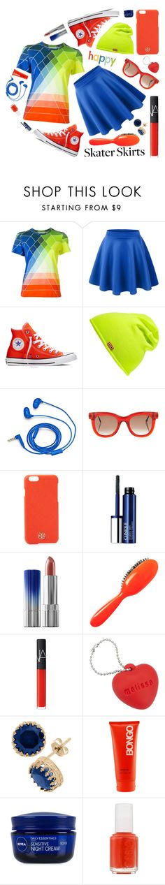 """""""happy"""" by sandevapetq ❤ liked on Polyvore featuring Mary Katrantzou, Converse, Hunter, FOSSIL, Thierry Lasry, Tory Burch, Clinique, Rock & Ruddle, NARS Cosmetics and Melissa"""