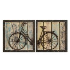 Rustic Bicycle Wall Decor (Set of - Stratton Home Decor style to your wall space! These striking panels feature wood and metal in distressed natural wood, rust, and black colors. Their split design makes customizing your space easy. Rustic Cabin Decor, Rustic Wall Art, Vintage Wall Art, Rustic Walls, Wood Wall Art, Wall Décor, Farmhouse Decor, Rustic Shelves, Country Farmhouse