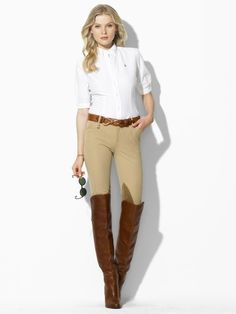 Love the breeches with the white shirt!!